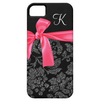 Elegant Faux Glitter Damask Girly Hot Pink Bow iPhone SE/5/5s Case