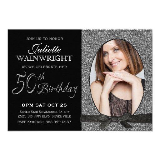 Elegant Faux Glitter Photo 50th Birthday Party Invitation