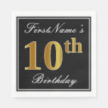 [ Thumbnail: Elegant, Faux Gold 10th Birthday + Custom Name Napkin ]