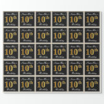 [ Thumbnail: Elegant, Faux Gold 10th Birthday + Custom Name Wrapping Paper ]