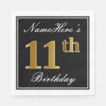 [ Thumbnail: Elegant, Faux Gold 11th Birthday + Custom Name Napkin ]