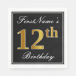 [ Thumbnail: Elegant, Faux Gold 12th Birthday + Custom Name Napkin ]