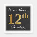 [ Thumbnail: Elegant, Faux Gold 12th Birthday + Custom Name Napkin ]