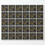 [ Thumbnail: Elegant, Faux Gold 12th Birthday + Custom Name Wrapping Paper ]