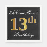 [ Thumbnail: Elegant, Faux Gold 13th Birthday + Custom Name Paper Napkin ]