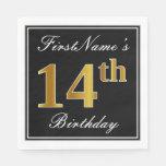 [ Thumbnail: Elegant, Faux Gold 14th Birthday + Custom Name Napkin ]