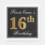 [ Thumbnail: Elegant, Faux Gold 16th Birthday + Custom Name Napkin ]