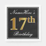 [ Thumbnail: Elegant, Faux Gold 17th Birthday + Custom Name Napkin ]