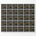 [ Thumbnail: Elegant, Faux Gold 17th Birthday + Custom Name Wrapping Paper ]