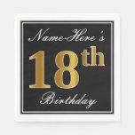 [ Thumbnail: Elegant, Faux Gold 18th Birthday + Custom Name Paper Napkin ]