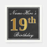 [ Thumbnail: Elegant, Faux Gold 19th Birthday + Custom Name Napkin ]