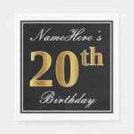 [ Thumbnail: Elegant, Faux Gold 20th Birthday + Custom Name Paper Napkin ]