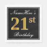 [ Thumbnail: Elegant, Faux Gold 21st Birthday + Custom Name Napkin ]