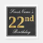 [ Thumbnail: Elegant, Faux Gold 22nd Birthday + Custom Name Napkin ]