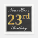 [ Thumbnail: Elegant, Faux Gold 23rd Birthday + Custom Name Napkin ]