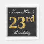 [ Thumbnail: Elegant, Faux Gold 23rd Birthday + Custom Name Napkin ]