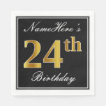 [ Thumbnail: Elegant, Faux Gold 24th Birthday + Custom Name Napkin ]