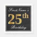 [ Thumbnail: Elegant, Faux Gold 25th Birthday + Custom Name Paper Napkin ]
