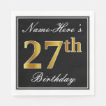 [ Thumbnail: Elegant, Faux Gold 27th Birthday + Custom Name Napkin ]