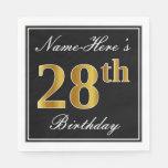 [ Thumbnail: Elegant, Faux Gold 28th Birthday + Custom Name Napkin ]