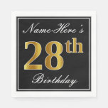 [ Thumbnail: Elegant, Faux Gold 28th Birthday + Custom Name Napkin ]