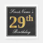 [ Thumbnail: Elegant, Faux Gold 29th Birthday + Custom Name Napkin ]