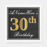 [ Thumbnail: Elegant, Faux Gold 30th Birthday + Custom Name Paper Napkin ]