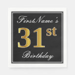 [ Thumbnail: Elegant, Faux Gold 31st Birthday + Custom Name Napkin ]