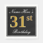 [ Thumbnail: Elegant, Faux Gold 31st Birthday + Custom Name Napkin ]