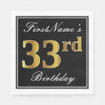 [ Thumbnail: Elegant, Faux Gold 33rd Birthday + Custom Name Napkin ]
