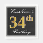 [ Thumbnail: Elegant, Faux Gold 34th Birthday + Custom Name Napkin ]