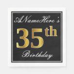 [ Thumbnail: Elegant, Faux Gold 35th Birthday + Custom Name Napkin ]
