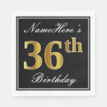 [ Thumbnail: Elegant, Faux Gold 36th Birthday + Custom Name Napkin ]