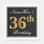 [ Thumbnail: Elegant, Faux Gold 36th Birthday + Custom Name Napkin ]