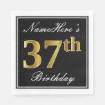[ Thumbnail: Elegant, Faux Gold 37th Birthday + Custom Name Napkin ]