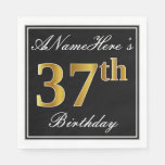 [ Thumbnail: Elegant, Faux Gold 37th Birthday + Custom Name Napkin ]