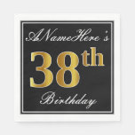 [ Thumbnail: Elegant, Faux Gold 38th Birthday + Custom Name Napkin ]