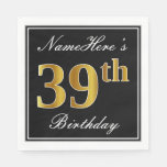 [ Thumbnail: Elegant, Faux Gold 39th Birthday + Custom Name Napkin ]
