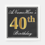 [ Thumbnail: Elegant, Faux Gold 40th Birthday + Custom Name Paper Napkin ]