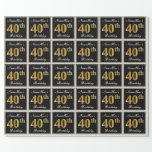 [ Thumbnail: Elegant, Faux Gold 40th Birthday + Custom Name Wrapping Paper ]