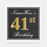 [ Thumbnail: Elegant, Faux Gold 41st Birthday + Custom Name Napkin ]