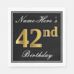 [ Thumbnail: Elegant, Faux Gold 42nd Birthday + Custom Name Napkin ]