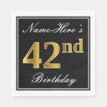 [ Thumbnail: Elegant, Faux Gold 42nd Birthday + Custom Name Napkin ]