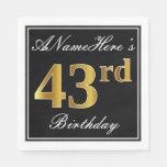 [ Thumbnail: Elegant, Faux Gold 43rd Birthday + Custom Name Napkin ]