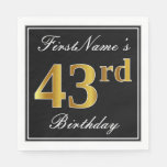 [ Thumbnail: Elegant, Faux Gold 43rd Birthday + Custom Name Napkin ]
