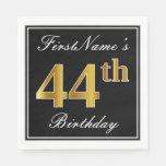 [ Thumbnail: Elegant, Faux Gold 44th Birthday + Custom Name Napkin ]