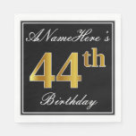 [ Thumbnail: Elegant, Faux Gold 44th Birthday + Custom Name Napkin ]