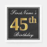 [ Thumbnail: Elegant, Faux Gold 45th Birthday + Custom Name Napkin ]