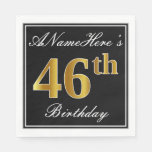[ Thumbnail: Elegant, Faux Gold 46th Birthday + Custom Name Napkin ]
