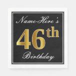 [ Thumbnail: Elegant, Faux Gold 46th Birthday + Custom Name Napkin ]